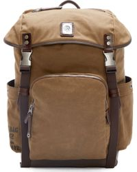 Diesel Brown Canvas And Leather Backpack - Lyst