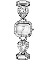 Guess Watch Womens Crystal-accent Silver-tone Bracelet 23x25mm - Lyst