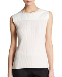 Reed Krakoff Leather Yoke Shell - Lyst