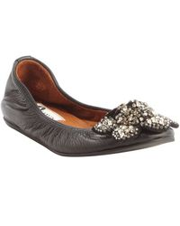 Lanvin Black Leather Jewel Embellished Flower Ballet Flats - Lyst