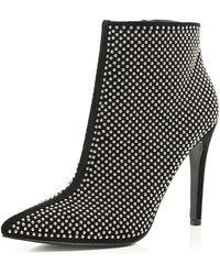 River Island Black Studded Pointed Ankle Boots - Lyst
