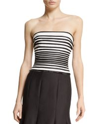 Halston Heritage Striped Strapless Top - Lyst