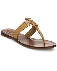 Tory Burch Moore Leather Logo Flat Sandals - Lyst