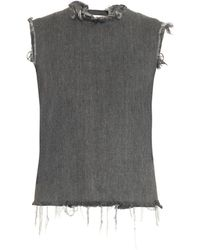 Marques'Almeida Frayed-edge Open-back Denim Top - Lyst