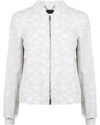 Karen Millen Cotton Jacquard Bomber Jacket - Lyst