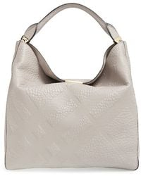 Burberry | 'medium Lindburn' Check Embossed Leather Hobo | Lyst