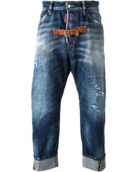 DSquared2 Buckle Strap Detail Straight Jeans - Lyst