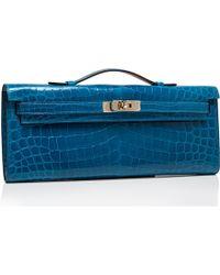 Hermès | Bleu Izmir Shiny Niloticus Crocodile Kelly Clutch | Lyst