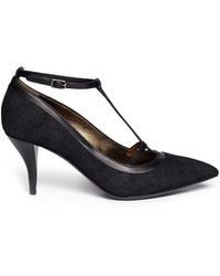 Lanvin Lizard Embossed Tstrap Leather Pumps - Lyst