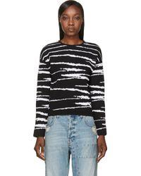 Versace Black Jacquard Stripe Sweater - Lyst