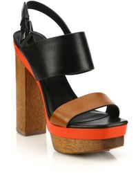 Michael Kors | Ettie Runway Leather & Wood Platform Sandals | Lyst
