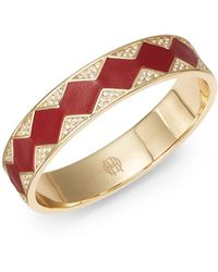 House Of Harlow Zigzag Leather Pavé Bangle Bracelet - Lyst