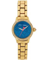 Betsey Johnson Ladies Crystallized Goldtone Mini Bracelet Watch - Lyst