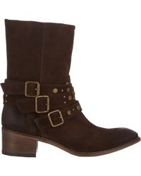 Barneys New York Studded-Strap Boots - Lyst