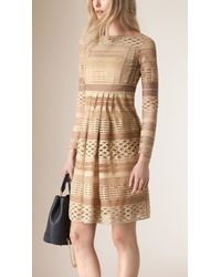 Burberry | Double Mesh Lace Dress | Lyst