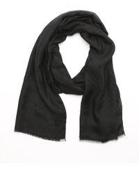 Armani Black Fabric Woven Chevron Scarf - Lyst