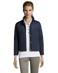 Moncler Navy And Dark Blue Woven 'Agne' Button Front Down Jacket blue - Lyst