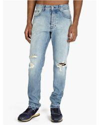 Ami Men'S Washed Blue Denim Jeans - Lyst