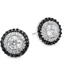 Lord & Taylor - Sterling Silver And Cubic Zirconia Halo Stud Earrings - Lyst