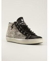 Leather Crown Herringbone Midtop Sneakers - Lyst