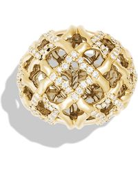 David Yurman Venetian Quatrefoil Dome Ring with Diamonds in Gold - Lyst