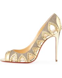 louboutin prices - Christian louboutin Academa Cut-Out Platform Leather Pumps in ...