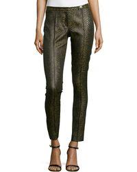 Versace Snake-Print Skinny Trousers - Lyst