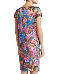 St. John Botanica Print Silk Stretch Charmeuse Cap Sleeve Dress with Pockets - Lyst
