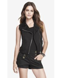 Express Cropped Moto Vest - Lyst