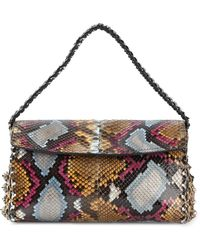 Roberto Cavalli Snakeskin-Effect Leather Shoulder Bag - Lyst