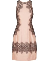 Lela Rose Embroidered Wool and Silkblend Dress - Lyst