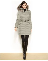 DKNY Petite Hooded Fauxfurtrim Belted Down Puffer Coat - Lyst