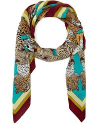 Silken Favours - Turquoise Bursting Big Cats Printed Silk Scarf - Lyst