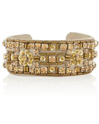 Isabel Marant Crystal and Beadembellished Nubuck Cuff - Lyst