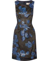 Lela Rose Silk-blend Floral-jacquard Dress - Lyst