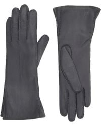 Barneys New York Gray Gusseted Gloves - Lyst