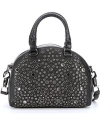 Christian Louboutin Black Leather 'Panettone' Eyelet Detail Small Convertible Satchel - Lyst