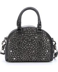 Christian Louboutin Black Leather 'Panettone' Eyelet Detail Small Convertible Satchel black - Lyst