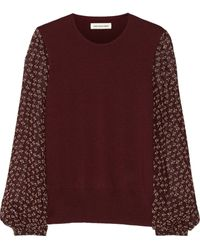 Etoile Isabel Marant Pryam Wool and Chiffon Top - Lyst