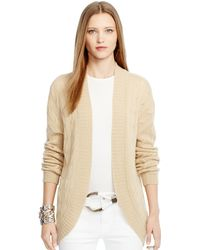Ralph Lauren Black Label Cable-knit Cashmere Cardigan - Lyst