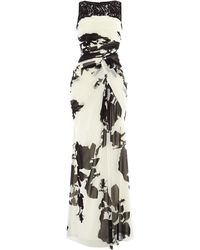 Adrianna Papell Rose Print Drape Dress - Lyst
