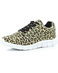 River Island Brown Leopard Print Trainers - Lyst