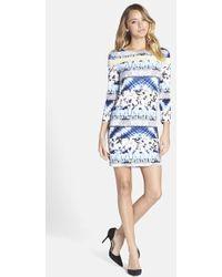 BCBGMAXAZRIA Mixed Print Jersey Shift Dress - Lyst