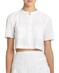 Rebecca Taylor Cropped Eyelet Top - Lyst