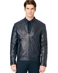Calvin Klein Perforated Leather Jacket - Lyst