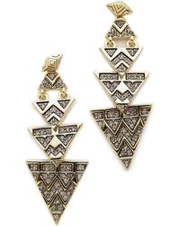 House Of Harlow 2-Way Pave Tribal Triangle Earrings - Gold - Lyst