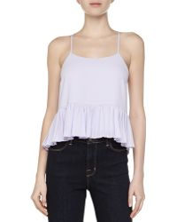 Elizabeth And James Vickie Ruffle-Hem Silk Top - Lyst