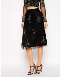 Frock and Frill - All Over Embellished Midi Skirt - Lyst