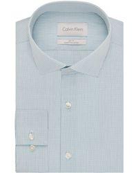 Calvin Klein Slim Fit Graphic Check Dress Shirt gray - Lyst
