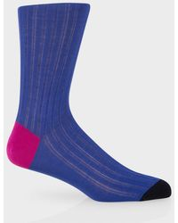 Paul Smith Violet Blue Socks With Contrasting Heel And Toe - Lyst